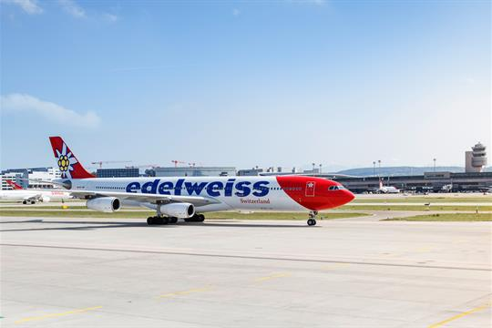 Edelweiss A340 taxiing at Zurich Airport