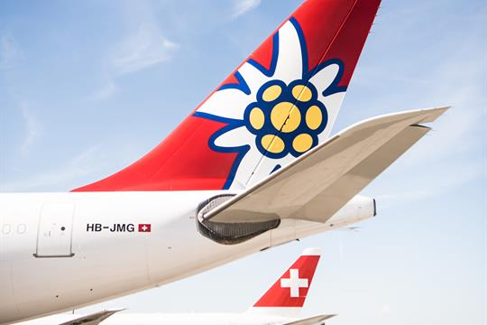 Edelweiss A340 at Zurich Airport with Swiss